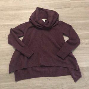 Sweaters - Purple poncho sweater / cowl neck sweater
